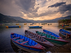 Sunset over Phewa Lake, Pokhara, Nepal (CamelKW) Tags: abc annapurnabasecamptrek annapurnaregiontrek annapurnasanctuary fishtail kathmandu mbc machapuchare machapucharebasecamp nepal pokhara trekking