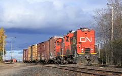 Off to do customer work (GLC 392) Tags: cn canadian national ic illinois central emd sw14 sw7rm gladstone mi michigan yard switcher storms railroad railway train outdoor vehicle locomotive 1201 boxcar local work switchers 1200