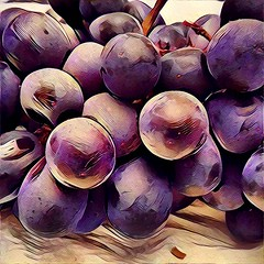Grapes on the table #grapes (angelinas) Tags: instagramapp square squareformat iphoneography uploaded:by=instagram grapes prisma fruit purple art digitalart digitalpainting
