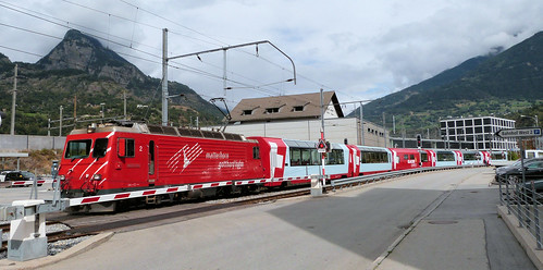 Matterhorn Gotthard Bahn, Switzerland - HGe4/4-II No. 2 built in 1985 departs Brig with the Glacier Express on the 17th September 2016