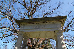 Barre (Pythaglio) Tags: barre monument grave structure greek revival neoclassical classical stone pediment denticulate dentils triglyphs mutules doric fluted fluting columns capitals paneling tree sky blue oak grove cemetery hillsdale michigan county