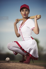 Ariya_web2 (rdeloviar) Tags: photoshoot portrait portraiture mood theme baseball women red white ball cap bat strobist photographer sacramento california heels stiletto ootd