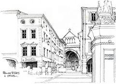 Sur la route de Besançon... (gerard michel) Tags: france lorraine epinal place architecture sketch croquis