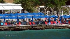 beach club at Arvanitia IMG_4079 (mygreecetravelblog) Tags: greece peloponnese nafplio nauplion beach nafpliobeach arvanitia arvanitiabeach outdoor seaside coast shore beachclub beachbar lounge sunbeds