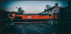 Get out of the way, I want to go to the pub (Blaydon52C) Tags: red blur light dusk evening dark sky wylam class66 dbschenker dbcargo dbs railway rail railways trains train transport locomotive locomotives loco freight railfreight ews levelcrossing pub boathouse