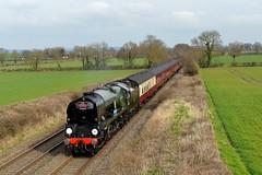 34052: No Effort! (Gerald Nicholl) Tags: 34046 34052 braunton lorddowding southernrailway bullied express steam engine loco locomotive wiltshire edington cath cathedralsexpress