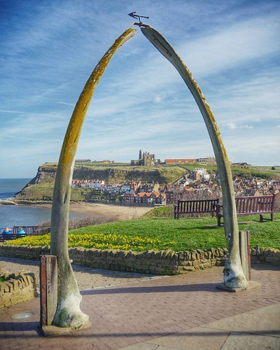 Hello from a sunny day in the North of England last week! This lovely seaside view of Whitby is looking across to the ruins of Whitby Abbey through the jawbone of a whale... to remember all the lives lost when whaling was popular here in the 18th and 19th