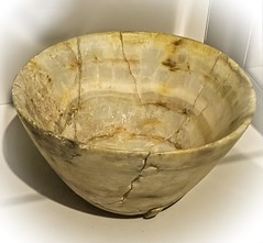 Alabaster bowl recovered from the royal cemetery of Ur, Iraq 2550-2450 BCE (mharrsch) Tags: alabaster bowl servingware vessel container ur sumer mesopotamia iraq artifact ancient 3rdmilleniumbce 26thcenturybce 25thcenturybce pennmuseum philadelphia pennsylvania mharrsch