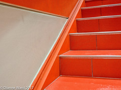 Orange Stairway (Tewmom) Tags: orange stairs lines patters shapes bpl bostonpubliclibrary