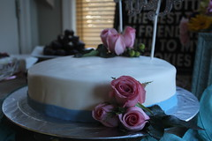 Bridal Shower Rose Cake (Eileen Marie Art & Photography) Tags: cake bakedgoods fondet frosting decorative foodart pink blue white display afternoonlight tones textures vantagepoint perspective pointofview foodphotography cakephotography digitalphotography