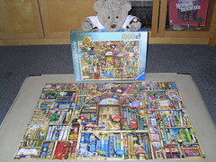 My kinda bookshop! (pefkosmad) Tags: jigsaw puzzle leisure hobby pastime ravensburger thebizarrebookshopno2 books humour 1000pieces used complete 193141 colinthompson booktitles wacky illustration tedricstudmuffin teddy bear ted cute stuffed soft toy animal fluffy plush