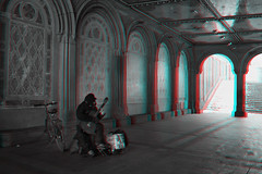 New York, New York (DDDavid Hazan) Tags: centralpark central park snow ice winter fifthavenue anaglyph 3d bw blackandwhite bwanaglyph 3danglyph 3dstereophotography redcyan redcyan3d stereophotography stereo3d ny newyork nyc newyorkcity guitar player musician streetmusician