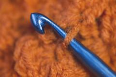 :: crochet :: (mjcollins photography) Tags: macromondayorangeandblue yarn fiber crochet hook