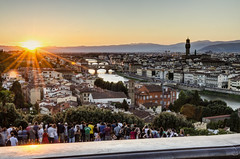 Florence Sunset (trunks_pj) Tags: florence sunset firenze tuscany italian italy piazza viewfrompiazzamichelangelo michelangelo crowd people watching view skyline sky city river arno palazzovecchio ponte vecchio nikon d5100 pjsampson peterjamessampson