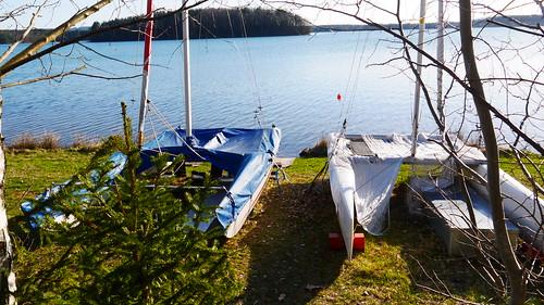 Katamarane am Steinberger See