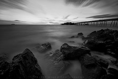 Birnbeck tide (modulationmike) Tags: hightide mono nikon d800 rocks somerset water sea clouds sky smooth processing movement pier