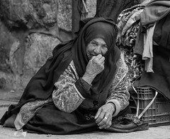 Old Friends (ybiberman) Tags: israel jerusalem oldcity alquds muslimquarter woman peddler portrait veil hijab shoes weddingring sitting candid streetphotography wrinkles