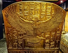 Image of the goddess Maat on the foot of King Tutankhamun's gold outer coffin New Kingdom 18th Dynasty Egypt 1332-1323 BCE (mharrsch) Tags: maat goddess deity religion gravegoods gold pharaoh king ruler coffin tutankhamun burial tomb funerary 18thdynasty newkingdom egypt 14thcenturybce ancient discoveryofkingtut exhibit newyork mharrsch premierexhibits