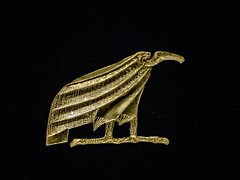 Gold leaf vulture amulets representing the Upper Egypt goddess Nekhbet or Mut found at the neck of King Tutankhamun's mummy New Kingdom 18th Dynasty Egypt 1332-1323 BCE (mharrsch) Tags: gold pharaoh king ruler tutankhamun burial tomb funerary 18thdynasty newkingdom egypt 14thcenturybce ancient discoveryofkingtut exhibit newyork mharrsch premierexhibits amulet vulture nekhbet mut