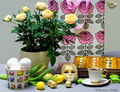 Aril Morning (nyomee wallen) Tags: aprilmorning coffee egg burmesethingyan egghunt divawithcoffee yellowroses tulips gift love shoppingwithrose thankyou easter eastertable waterfestival happymyanmarwaterfestival thailand burma myanmar party waterparty