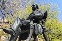 Mt Vernon ~ statue of George Peabody (karma (Karen)) Tags: baltimore maryland mtvernon statues monuments georgepeabody trees