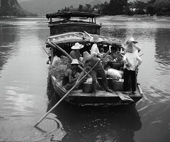 Li River - Local ferry at Xingping 1993 (Bruce in Beijing) Tags: china guangxi liriver yangshuo xingping ferryboat riverboat intermediatetechnology riverlife