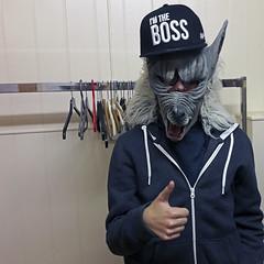 drama workshop (maximorgana) Tags: baseball cap iamtheboss wold mask sweater rack clothes hanger thumbsup thumb