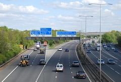 M4  M25 Junction (J_Piks) Tags: road motorway traffic cars lampposts streetlighting streetlights sign signpost roadsigns overheadsign directionsign london heathrow m4