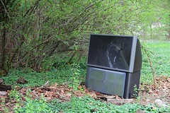 This Sony big-screen TV has clearly been sitting in the yard for some time. (seventh_sense) Tags: abandoned ruins decay house deserted home homestead porch overgrown field overgrowth brambles weathered derelict decayed decaying rotting fire damage damaged destroyed burned charred collapse collapsed collapsing victorian garrison owings mills maryland firedamaged