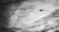 Newark Departure | Jersey City, N.J. (Stefan Hueneke) Tags: stefan hueneke black white bw photography jersey city new york manhattan big apple canon t5i boeing 737 airbus regional jet aircraft airplane clouds sunset moody sky liberty harbor newark international airport