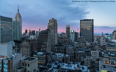 Early Morning New York (20170423-DSC00598-Edit) (Michael.Lee.Pics.NYC) Tags: newyork aerial hotelview hiltontimessquare garmentdistrict esb empirestatebuilding 1pennplaza wtc worldtradecenter jerseycity hudsonriver sunrise morning architecture cityscape sony a7rm2 fe2470mmf28gm