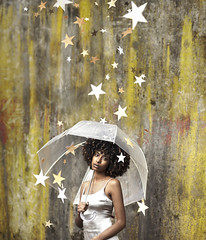 Rising Star (part 1) (Rob Woodcox) Tags: surreal conceptual stars paint afro blackhair blackwomen silver yellow rain umbrella robwoodcox robwoodcoxphotography portland oregon whimsical magical beauty beautiful beautifulpeople woman brown brownhair
