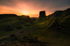 Last Light at Fairy Glen (GenerationX) Tags: balnacnoc balnaknock barr canon6d castleewan faerieglen fairyglen highlands isleofskye neil scotland scottish trotternish uig circles clouds dusk evening gloaming landscape landslip rocks silhouette sky stonecircles sunset