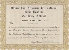 Moose Jaw Band Festival Certificate (Hugh Peden) Tags: stirling pipe band pine falls manitoba major william bill macleod