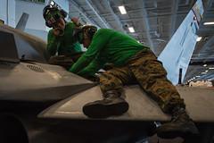 170421-N-VN584-190 (U.S. Pacific Fleet) Tags: usstheodoreroosevelt cvn71 underway alex corona vn584 marinestrikefightersquadron checkerboards vmfa 312 fa18chornet hangarbay maintenance