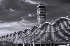 Ronald Reagan Washington National Airport (mutrock) Tags: usa building tower monochrome architecture clouds arlington virginia airport unitedstates va controltower 2014 ronaldreaganwashingtonnationalairport