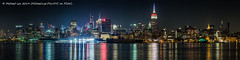 Midtown Night Pano (Michael.Lee.Pics.NYC) Tags: panorama newyork reflection night river newjersey long exposure manhattan olympus midtown hudson hoboken 75mm