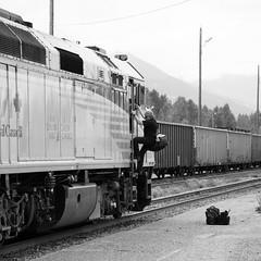 VIA Rail: Climbing aboard (jaeschol) Tags: canada britishcolumbia railway via smithers publictransport