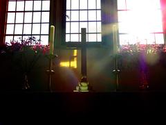 Altared perception. (SimonTHGolfer) Tags: light england sun reflection art church window suffolk cross sony fineart religion cybershot altar lensflare crucifix christianity dsc fineartphotography h200 flickrandroidapp:filter=none