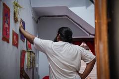 Lovell helps with the decoration (Lovell D'souza) Tags: india festival god idol calcutta artisan durgapujo durgapuja kolkatta westbengal 2014 sculptors gariahat dusshera kumortuli pujo2014