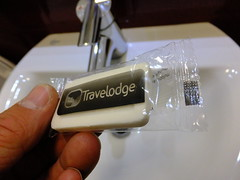 Oh, free white chocolate! (stevenbrandist) Tags: silly london hotel soap chocolate budget small travelodge packet checkin travelodgelondonexcel