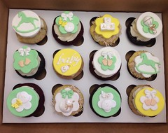 Baby Shower Gender Neutral Cupcakes (alicia's_cupcakes) Tags: baby green yellow gold duck bottle bows rockinghorse babyshower babyfeet buildingblocks rattles