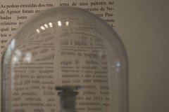 Science is distorted (camila.baumhak) Tags: light distortion glass vidro hospital painting word words paint image distorted experiment medicine medicina reflexo pintura imagem palavras matarazzo palavra experincia