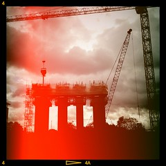 """""""It is not the beauty of a building you should look at; its the construction of the foundation that will stand the test of time."""" David Allan Coe (k8rry) Tags: 6x6 film construction leeds cranes lightleak vignette buildingsite backlighting rainclouds no6wellingtonplace"""