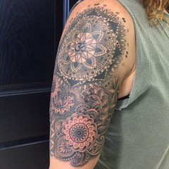 mandala stipple tattoo sleeve by wes fortier - Burning Hearts Tattoo Co. 1430 Meriden Rd.  Waterbury, CT