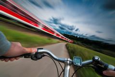 speed (hgviola ) Tags: bicycle speed train cycling nikon zug wideangle tokina motionblur fahrrad bewegungsunschrfe d300 weitwinkel geschwindigkeit 1116mm hgviola