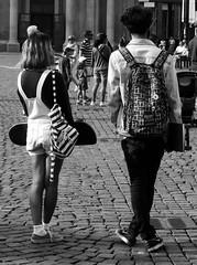 SkHaters. SkLovers. (michele.tedesco) Tags: boy bw italy white black girl fashion torino blackwhite italia skateboarding bn piemonte skateboard turin bianco nero piazzasancarlo biancoenero ragazza ragazzo streetstyle yonggys