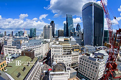Lego City (david gutierrez [ www.davidgutierrez.co.uk ]) Tags: city uk blue sky urban london art architecture clouds buildings photography skyscrapers lego perspective aerialview fisheye gherkin lloyds tower42 walkietalkie cityoflondon leadenhall cheesegrater herontower davidgutierrez pentaxk5
