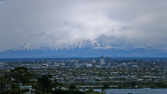 Christchurch Skyline (after earthquakes) (jasonclarkphotography) Tags: newzealand christchurch mountains tower skyline port buildings earthquake cityscape cathedral pacific sony hills cranes cardboard nz damage chch nex nex5 jasonclarkphotography