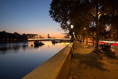 Chelsea Embankment (Gianpaolo Fusari) Tags: city longexposure bridge sky urban london twilight chelsea dusk lighttrails bluehour riverthames beltofvenus albertbridge batterseapark chelseaembankment sweetlight summicronm35mmf2 leicamtyp240